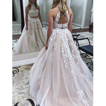 Pink Long Prom Dresses 2018 A-line Halter Sleeveless Two Piece