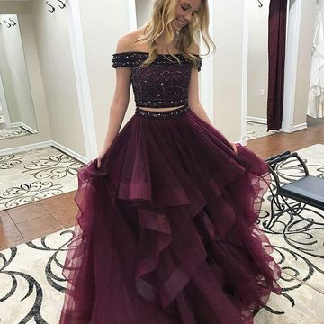 49%OFF Burgundy Long Prom Dresses 2018 A-line Two Piece For Short ...