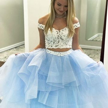 Blue Long Prom Dresses 2018 A-line Lace Two Piece For Short Girls