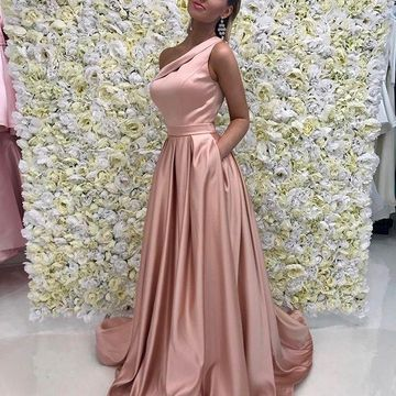 Pink Long Prom Dresses 2018 A-line One Shoulder Sleeveless