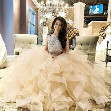 Long Prom Dresses 2019 Ball Gown Sleeveless Open Back Two Piece