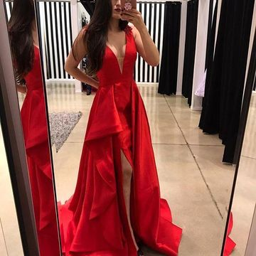Red Long High-Low Prom Dresses 2018 A-line V-Neck Sleeveless