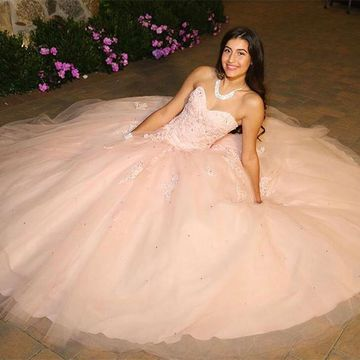 Pink Long Prom Dresses 2018 Ball Gown Sleeveless