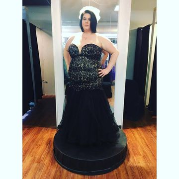 Black Long Prom Dresses 2018 Mermaid Sleeveless Lace Plus Size