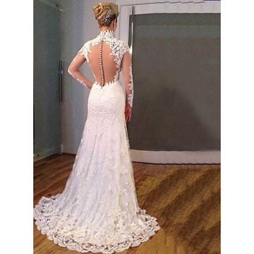 Long Wedding Dresses 2018 V-Neck Long Sleeves Lace Sexy