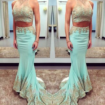 Long Prom Dresses 2018 Mermaid Sleeveless Lace Two Piece
