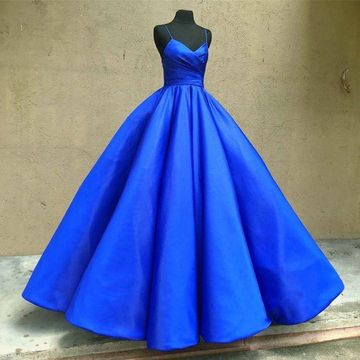 Royal Blue Long Prom Dresses 2018 Ball Gown