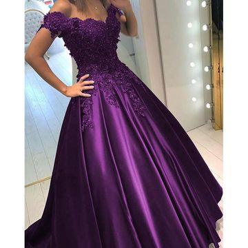 Grape Long Prom Dresses 2018 Ball Gown V-Neck