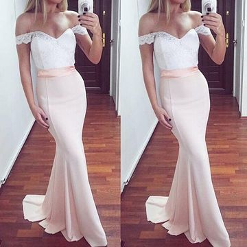 Long Bridesmaid Dresses / Prom Dresses 2018 Mermaid Lace