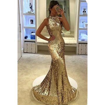 Gold Sequin Long Prom Dresses 2018 Mermaid Sleeveless