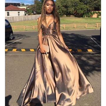 Brown Long Prom Dresses 2019 A-line African