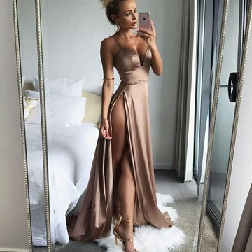 Long Prom Dresses 2018 A-line Sexy