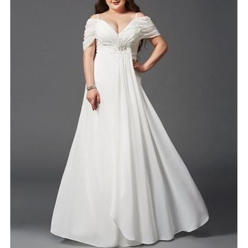 White Long Prom Dresses 2018 A-line V-Neck Chiffon Plus Size