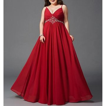 Red Long Prom Dresses 2018 A-line V-Neck Chiffon Plus Size