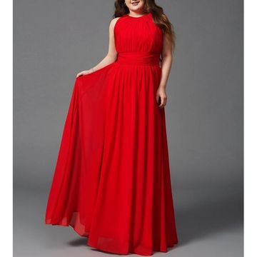 Red Long Bridesmaid Dresses / Prom Dresses 2018 A-line Sleeveless Chiffon Plus Size