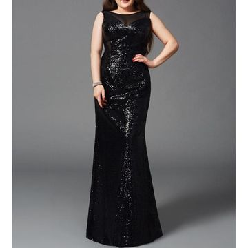 Black Long Prom Dresses 2018 Sheath Sleeveless Plus Size