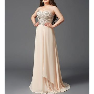 Long Prom Dresses 2018 A-line Sleeveless Chiffon Plus Size