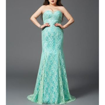 Long Prom Dresses 2018 Mermaid Sleeveless Lace Plus Size