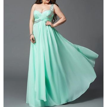 Long Prom Dresses 2018 A-line One Shoulder Sleeveless Chiffon Plus Size