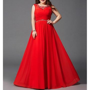Red Long Prom Dresses 2018 A-line Sleeveless Plus Size