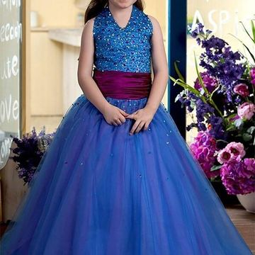 Blue Dresses 2018 Ball Gown Halter V-Neck