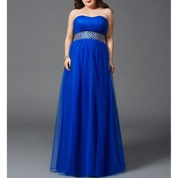 Blue Long Prom Dresses 2018 A-line Strapless Sleeveless Plus Size