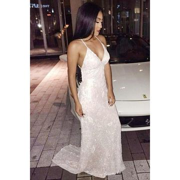 White Long Prom Dresses 2018 V-Neck Sleeveless Open Back