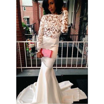White Long Prom Dresses 2018 Mermaid Long Sleeves Lace