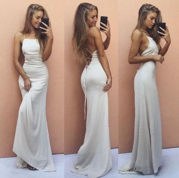 White Long Prom Dresses 2018 Sheath Sleeveless