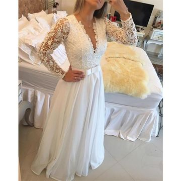 Long Prom Dresses 2018 A-line V-Neck Long Sleeves Chiffon Lace