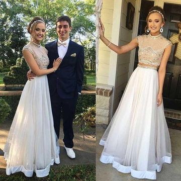 White Prom Dresses 2019 A-line Two Piece