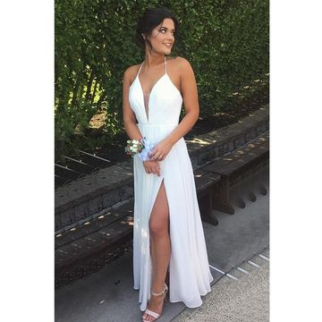 White Long Prom Dresses 2018 A-line Halter V-Neck Sleeveless Chiffon