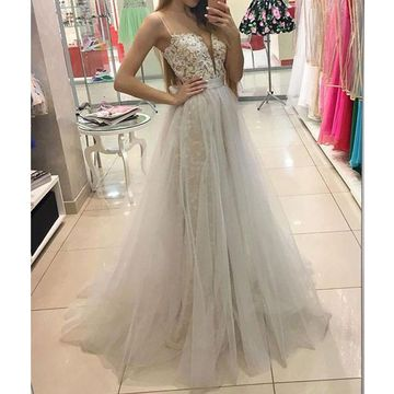 White Long Prom Dresses 2018 A-line Sleeveless Lace