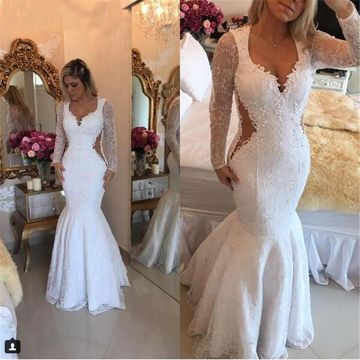 White Long Prom Dresses 2018 Mermaid V-Neck Long Sleeves Lace