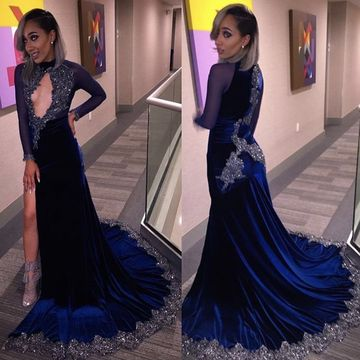 49%OFF Royal Blue Long Prom Dresses 2018 Mermaid Long Sleeves ...