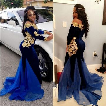 Royal Blue Long Prom Dresses 2019 Mermaid Long Sleeves African Sexy For Short Girls