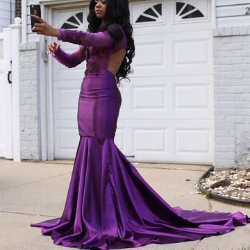Grape Prom Dresses 2018 Mermaid Long Sleeves Open Back African Sexy