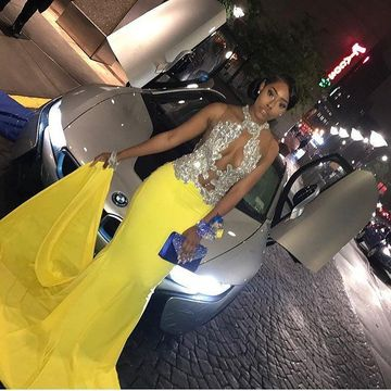 Yellow Long Prom Dresses 2018 Mermaid Sleeveless African Sexy