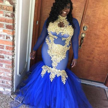 Royal Blue Long Prom Dresses 2018 Mermaid Long Sleeves African Sexy Plus Size
