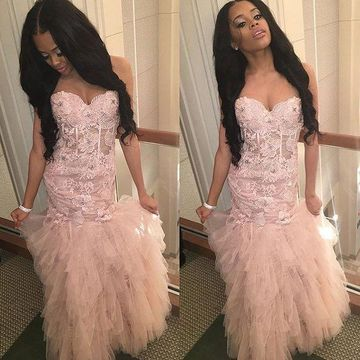 Long Pink Mermaid Sweetheart Sleeveless Zipper Appliques Prom Dresses 2018 For Short Girls