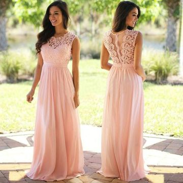 Pink Long Bridesmaid Dresses / Prom Dresses 2018 A-line Sleeveless Chiffon Lace