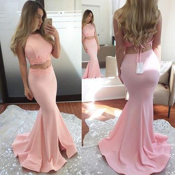 Pink Long Prom Dresses 2018 Mermaid Halter Sleeveless Two Piece