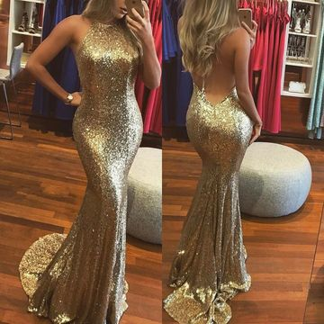 Gold Sequin Long Prom Dresses 2018 Mermaid Halter Sleeveless Open Back Sexy