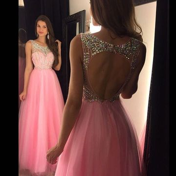 Pink Long Prom Dresses 2018 A-line Sleeveless Open Back