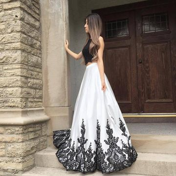 Long Prom Dresses 2018 A-line Sleeveless Open Back Two Piece