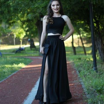 Black Prom Dresses 2019 Sleeveless Two Piece