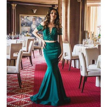 Green Long Prom Dresses 2018 Mermaid Lace Two Piece