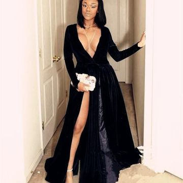 Black Long Prom Dresses 2019 A-line V-Neck Long Sleeves