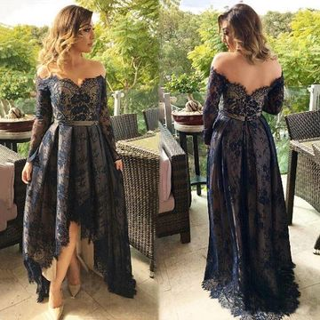 Black Long High-Low Prom Dresses 2019 A-line Long Sleeves