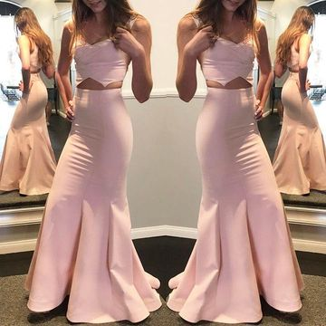 Pink Long Prom Dresses 2018 Mermaid Two Piece